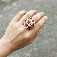 HOLIDAY SALE 20% OFF brown rose ring made by polymer clay