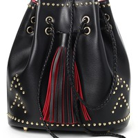Golden Studs Drawstring Bucket Bag