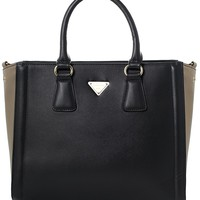 Contrast Two-Tone Tote Bag in Black