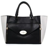 Two-way Envelop Front Pouch Contrast Tote Bag