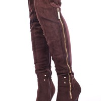 BROWN FAUX SUEDE ELASTIC GOLD ZIPPER STUD ACCENT OVER THE KNEE HIGH HEEL BOOTS