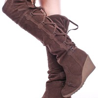 BROWN FAUX SUEDE LACE UP BACK RUBBER WEDGE FOLDABLE OVER THE KNEE BOOTS