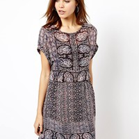 Warehouse Moroccon Tile Print T-Shirt Dress
