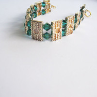 Maripaz........ Renaissance inspired gold and green bracelet