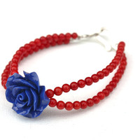 Red coral bracelet with blue rose, colorful retro, gemstone jewelry