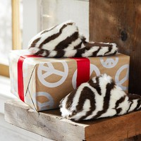 Fur Slippers - Zebra