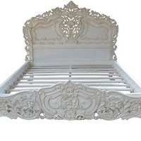 Majestic White Rococo Bed in FULL Size SOLID WOOD- Affordable Luxury!
