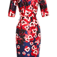 Fitted Floral-Print Satin Dress by Prabal Gurung Now Available on Moda Operandi