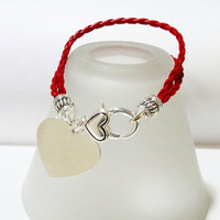 Layered Red Braided Leather Cord with Silver Heart Charm Bracelet/Christmas Gift Under 15