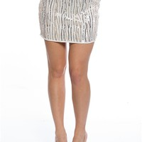 Streamers at Midnight Sequin Mini Skirt - Ivory