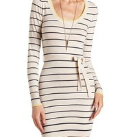 BELTED STRIPED SWEATER DRESS