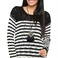 Long Sleeve Striped Sweater with Lace Trim Hem