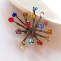 One of a kind copper wire brooch colorful beaded jewelry funky statement Snowflake