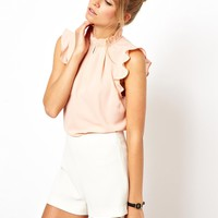 ASOS Sleeveless Top with Frill Trim Collar