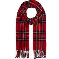 RED LONG TARTAN SCARF