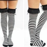 Black & White Stripes Lace Thigh High Socks
