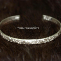 Sterling Silver Cuff Bracelet - Floral Pattern Cuff - Swirl Pattern Cuff - Artisan Jewelry - Gift For Her - Hand Formed Silver Jewelry