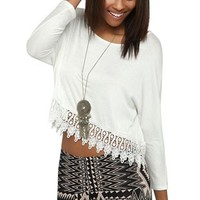 three quarter sleeve rayon span crop with crochet bottom trim