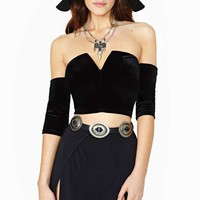 Nasty Gal Vamp Velvet Crop Top