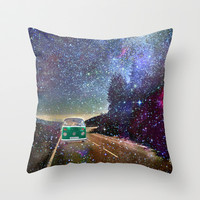 Stars Wander wolkswagen. Dreams. Green Throw Pillow by Guido Montañés