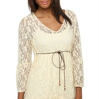 3/4 sleeve allover lace babydoll with suede tie belt