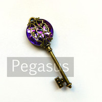 Steampunk Skeleton Key Royal PURPLE Filigree Acrylic Gem (1 Piece)(Choose your Color) Jewelry pendant for scrapbook and wedding favor
