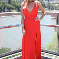 Red Multi Strap Back Plunge Neckline Maxi Dress