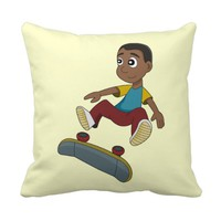 Skateboarding boy cartoon pillow