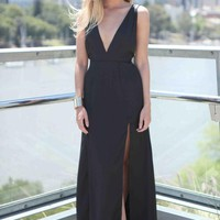 Black Multi Strap Back Plunge Neckline Maxi Dress