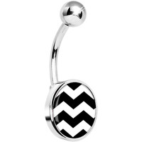 Black White Chevron Belly Ring | Body Candy Body Jewelry