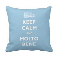 Keep Calm Molto Bene Coliseum Blue Pillow