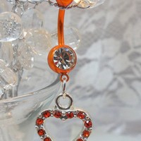Belly ring, belly button ring with sun orange crystal heart 14ga
