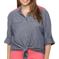 plus size three quarter roll tab sleeve chambray tie front with neon embroidery on shoulders and neon buttons