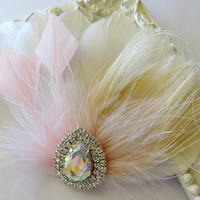 Bridesmaid Feather Hair Accessory, Feather Fascinator, Bridal Hair PIece, Peacock, Ivory, Blush, White, Feather, Hair Clip 1920s, Gatsby