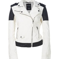 COLORBLOCKED FAUX LEATHER MOTO JACKET