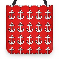 Anchor Pattern Red Tote