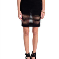 Rehab Clothing - Detailed Sheer Striped and Knitted Skirt