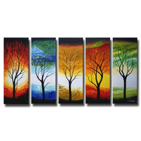 'Abstract Tree' Hand Painted Oil on Canvas Art Set