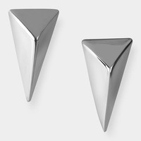 Rhodium Pyramid Clip Earring