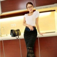 Denim Lace Midi Skirt Korean Fashion