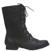 Perforated Combat Boot | Wet Seal