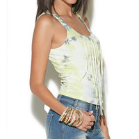 Tie Dye Fringe Crop Tank | Wet Seal