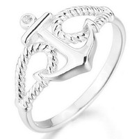 JBlue Jewelry Women's 925 Sterling Silver Ring CZ Silver Anchor Polished Personalized (with Gift Bag)