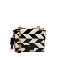 Lulu Guinness Monochrome Chevron Print Leather Verity Across Body Bag