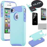 Pandamimi ULAK 2 Piece Hybrid High Impact Rubber Rugged Combo Matte Hard Case Cover For Apple iPhone 4 4S with Screen Protector (Blue+Purple)