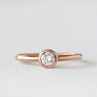 14k rose gold engagement diamond ring, stackable wedding band, wedding ring, eco friendly, solid recycled gold, handmade