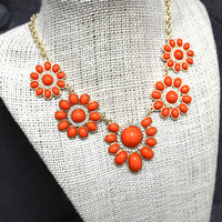 Tangerine Cluster Necklace