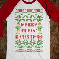 Merry Elfin Christmas Funny Elf Ugly Christmas Sweater  T Shirt