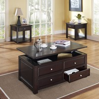 Malden espresso finish wood end table with storage drawer and lower shelf