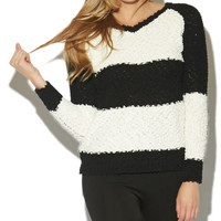 V-Neck Color Block Popcorn Sweater | Wet Seal